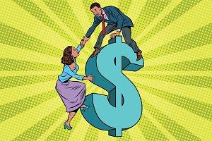 Business team scrambles on the dollar