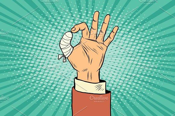 OK Gesture Bandaged Finger