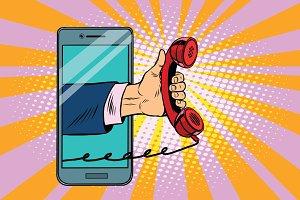 mobile retro handset, modern smartphone