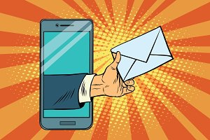 You email or a message in smartphone
