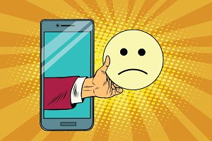 sadness resentment emoji emoticons in smartphone