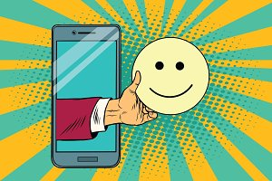 smile joy emoji emoticons in smartphone