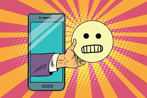 evil smile emoji emoticons in smartphone