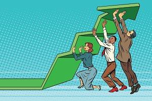 Business team lift up growth chart