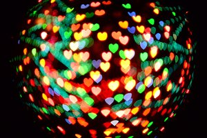 Hearts in colored lights