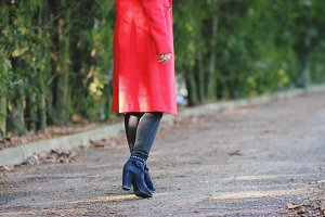 Stylish woman in red coat