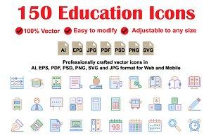 Education Colour Line Icons
