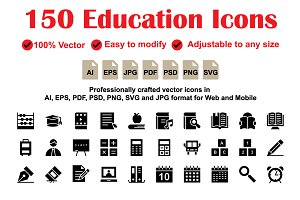 Education Glyphs Icons