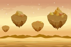 Seamless cartoon desert landscape