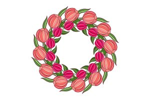 Decorative spring frame with wreath of tulips