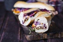 Fresh and tasty sandwich with chicken