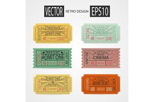 Set retro cinema tickets design pop art