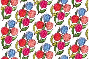 Seamless background woth spring flowers of tulips.