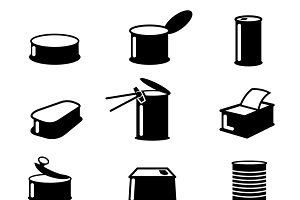 Cans food canned goods vector icons