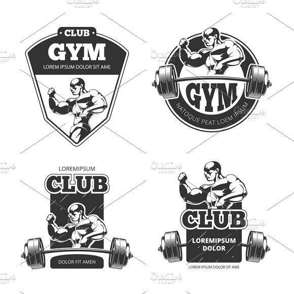 Gym And Fitness Vector Emblems
