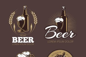 Color beer labels vector set