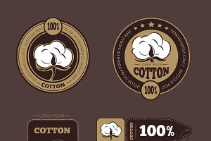 Retro cotton vector labels