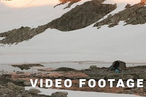 Camping in the Norwegian mountains. Smooth dolly shot