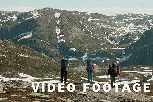 Three friends in the Norwegian mountains