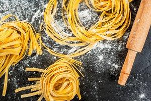 Fresh raw pasta, paglia e fino