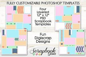 4 Layered PSD Scrapbook Templates