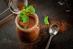 Chocolate dessert with mint
