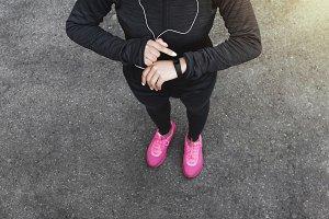 Unrecognizable woman in sportwear