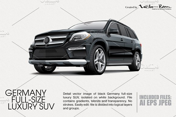 germany full size luxury suv illustrations creative market. Black Bedroom Furniture Sets. Home Design Ideas