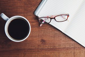 Coffee, Glasses and Journal