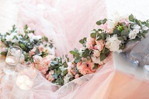 Flowers. Decoration of wedding table