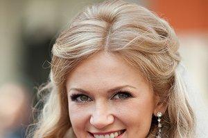 A portrait of pretty blonde bride