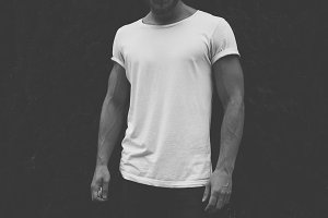 Hipster man wearing blank t-shirt