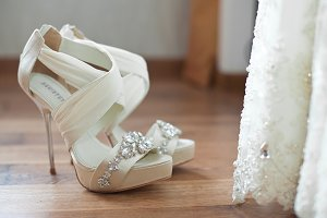 White open toe wedding shoes