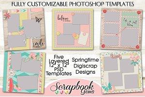 5 Layered Spring Scrapbook Templates