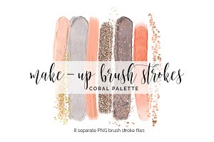 Brush Strokes Clipart - coral set