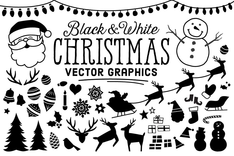 B&W Christmas Icons