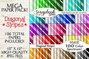 100 Colors Diagonal Stripes Papers