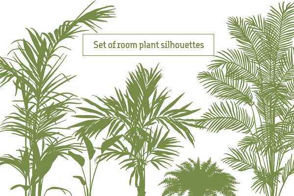 Set of room plant silhouette