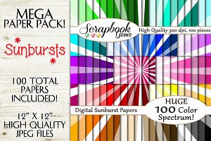 100 Colors Sunburst Pattern Papers