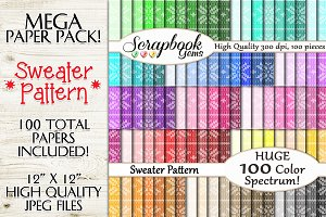 100 Colors Sweater Pattern Papers