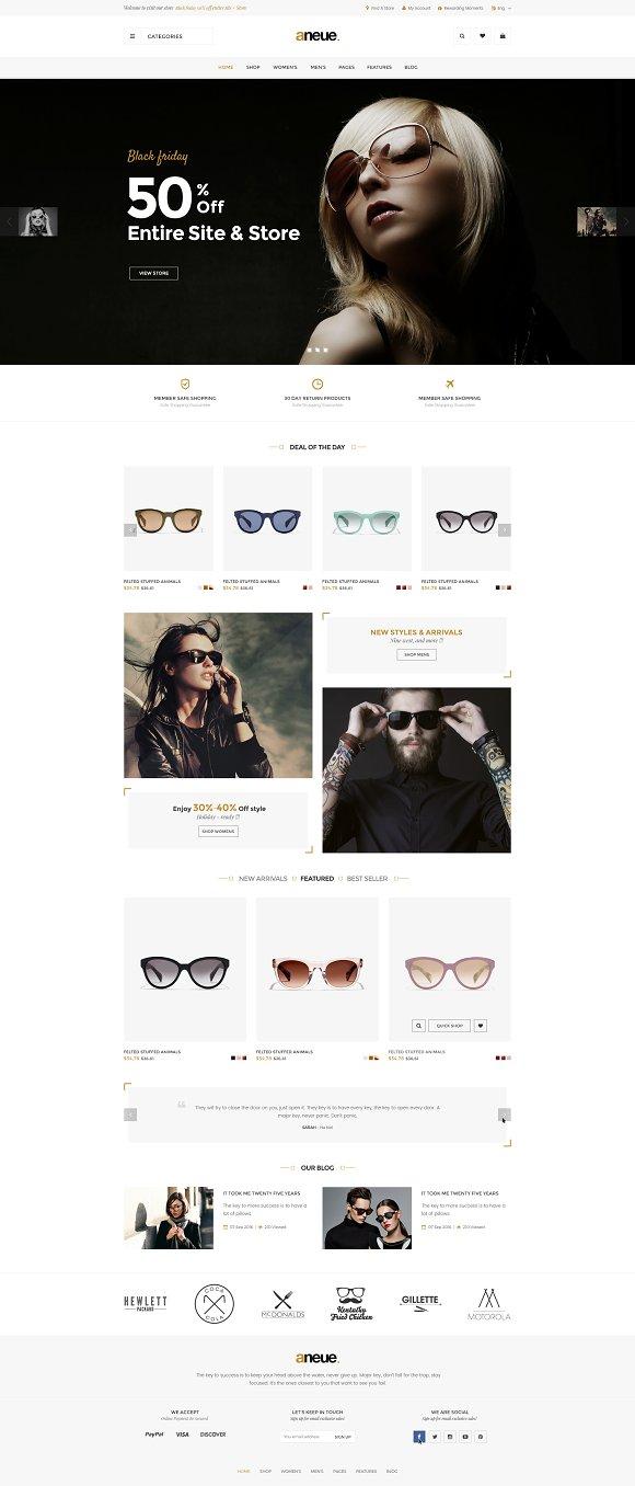 Aneue Glasses Store Magento 2 Theme