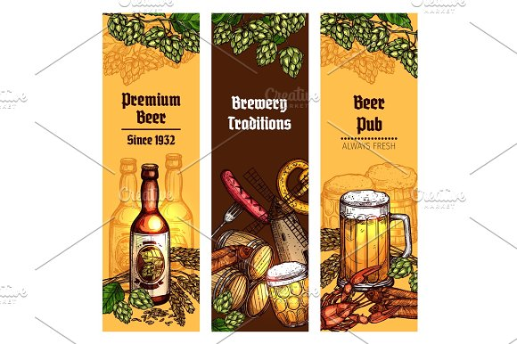 beer with snacks banner for pub brewery design graphics