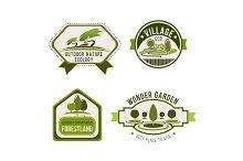 Ecology, nature, eco green label set