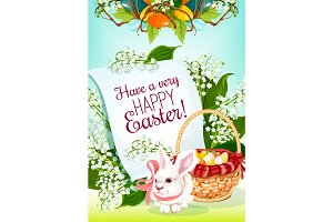 Easter Egg Hunt rabbit greeting card design