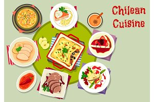 Chilean cuisine icon with seafood and meat dishes