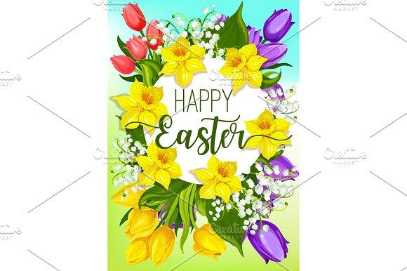 Easter Spring Flowers Cartoon Poster Design Graphics Creative Market