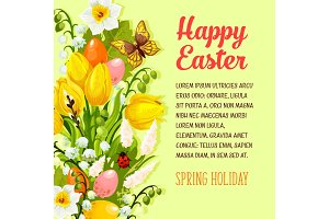 Easter flowers bunch vector spring holiday poster