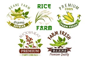 Vegetable, cereal, bean farm emblem set design