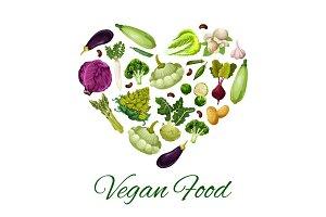 Heart with vegetable, bean, mushroom poster