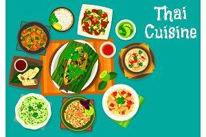 Thai cuisine lunch icon for restaurant menu design